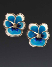 Rare enameled blue Pansy with Sterling Post