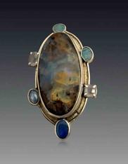 Brand New -Amy Kahn Russell Australian Opal Gemstone Sterling Pin/Pendant