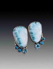 Echo of the Dreamer Wavellite, Turquoise, Blue Topaz Clip Earrings