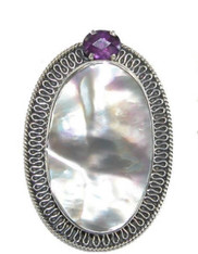 BRAND NEW-Amy Kahn Russell Mabe Pearl Amethyst Sterling Pin/Pendant