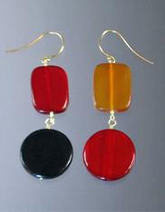 Multi-Colored Horn Geometric Dangle Sterling Earrings