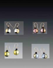 Two Tone Venetian Glass Rare Disc Earrings