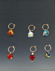 Venetian Glass Globe Earrings on 14K Hinge Hoops