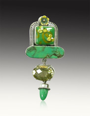Amy kahn Russell Peridot  Chrysophrase Vintage Glass Flower Sterling Pin/Pendant