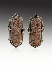 SALE -Echo of the Dreamer Art Deco Jasper Topaz, Sterling Clip Earrings