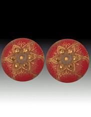 SALE-Amy Kahn Russell Large Vintage Czech Glass Sterling Clip/Post Earrings
