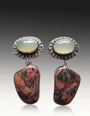 BRAND NEW-Amy Kahn Russell Prehnite Jasper Sterling Clip/Post Earrings