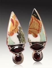 BRAND NEW-Echo of the Dreamer Asian Tile Garnet Sterling Clip Earrings