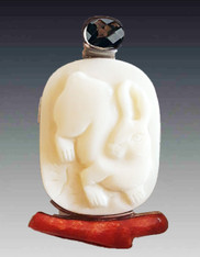 SALE - Amy Kahn Russell Hand Carved Bunny Rabbit on Coral Branch