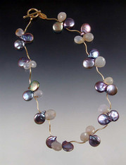 Precious Clusters: Natural Chalcedony, Pearls, 14K Necklace