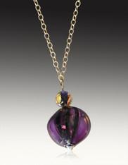 Rare Hand Blown Purple Venetian Sasso Pendant