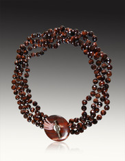 Hand-knotted Red Tiger Eye Torsade with Matching Toggle Clasp