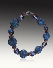 Blue Druzy Ruby Venetian Glass Collar