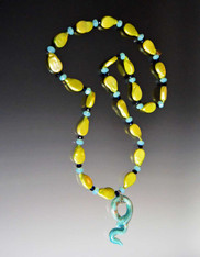 Lime Pearl Rope with Venetian Aqua Serpent