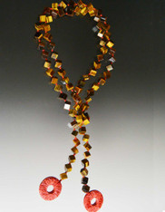 Hand Knotted Red Silk Tiger Eye Dice Lariat with Carved Cinnabar Dangles