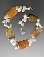 Petrified Wood Silver white Pearl Collar