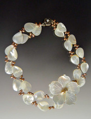White Mother of Pearl Blossom Collar