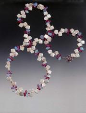 White Square Pearls With Precious Fucia clusters