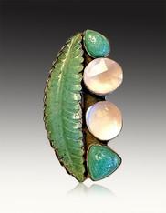 Amy Kahn Russell Carved Leaf Aventurine Rose Quartz Pin/Pendant