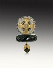 Amy Kahn Russell Sterling Czech Glass Druzy Pin/Pedant - Brand New