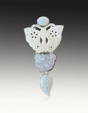Amy Kahn Russell Carved Butterfly Aquamarine Druzy Moonstone Pin/Pendant
