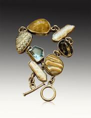 Echo of the Dreamer Silver Agate Blue Topaz Bracelet SOLD