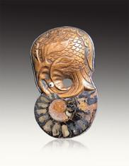 Amy Kahn Russell Vintage Carved Wood Ammonite Pin/Pendant