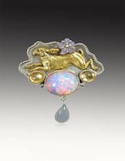 """Amy Kahn Russell Sterling  Bunny Vintage """"Opal"""" Glass Pin/Pendant"""