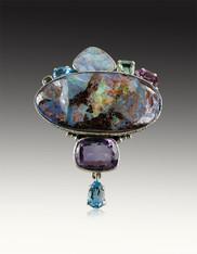 Amy Kahn Russell Spectacular Boulder Opal Multi Gem Pin/Pendant