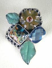 Amy Kahn Russell Sterling, Jade Hessionite Garnet Pin/Pendant