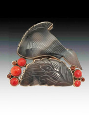 Amy Kahn Russell Hand-Carved Gray Agate Coral Fish Pin/Pendant
