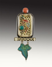 Amy Kahn Russell Carved Dragonfly Coral Jade Leaf Pin/Pendant
