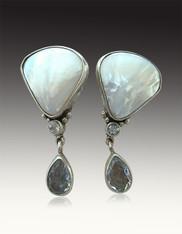Echo of the Dreamer Pearl Fan, White Topaz Sterling Clip Earrings