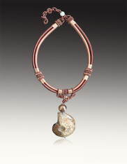 Amy Kahn Russell Intricate tan and Brown Silk Necklace with Raw ammonite Pendant