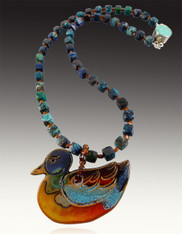 Hand-Carved Removable Ceramic Duck on Turquoise Garnet Chain