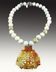 Hand-Knotted Silk Burmese Jade with Rare Carved Jade Pendant
