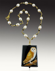 Hand-Painted Russian Naturalist Owl with 14K and Wire Wrapped Pearl Rope