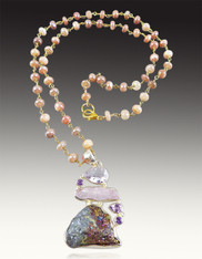 Titanium Druzy Kunzite, Amethyst Pendant on Pink Opal Wire Wrapped Chain