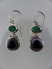 Emerald Green Peacock Pearl Sterling Earwire Earrings