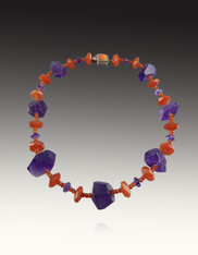 Amethyst Fire Opal Hessionite Garnet Statement Necklace