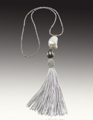 Micro Faceted Platinum South Sea Pearl Sterling Silver Tassel