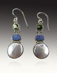 Pearl Opal Peridot Sterling Silver Earrings