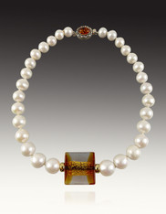 Opulent South Sea Round White Pearls with Rare Venetian Center and Amber Clasp