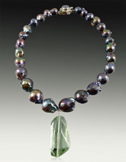 Baroque Peacock Pearls with Faceted Prasiolite pendant