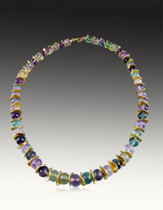 Multi-Colored Round Fluorite  with 24K gold leaf waves
