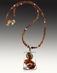 Modernistic Two Tone Baltic Amber Sterling Pendant on Hessionite Garnet silver chain