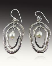 Sterling Double Hoop Pearl Earrings