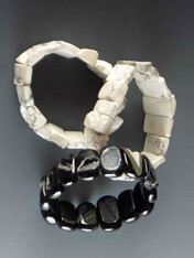 """Three new bracelets to stock or wear separately. Natural white howlite with flecks of gray. Natural brazilian druzy agate stations -- very limited. No two alike but all very special. Stretch to 8"""""""