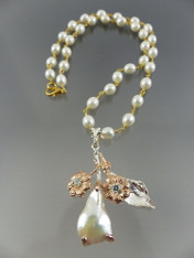 Vintage Embellished Baroque Pearl Sterling Pendant on Wire Wrapped Pearl Chain