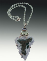 Rare  Brazilian Amethyst Pendant with Green and Purple Amethyst on Wire Wrapped Prasiolite Chain